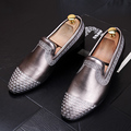 Male Pointed toe Slip-On Flats Genuine leather Vintage Casual shoes Spring Autumn Men Loafers Driving shoes 022