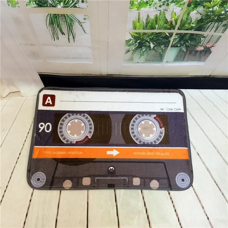 ヴィンテージ磁気テープドアマットサンゴフリースフロアカーペット吸収性入り口ドアマット滑り止めキッチンカーペット寝室ポーチ敷物