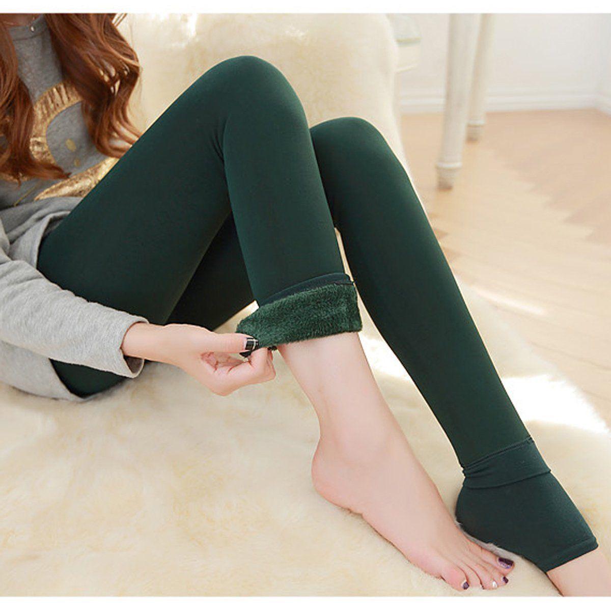 Женские однотонные зимние плотные теплые флисовые утепленные эластичные леггинсы Tihgts - Цвет: dark green
