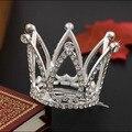 6 шт./лот Оптовая Ясно Горный Хрусталь Маленький Цветок Тиаре Девушки Корона Свадебные Волос Тиара Гребни для Big Girl 3D Мини-Принцесса корона