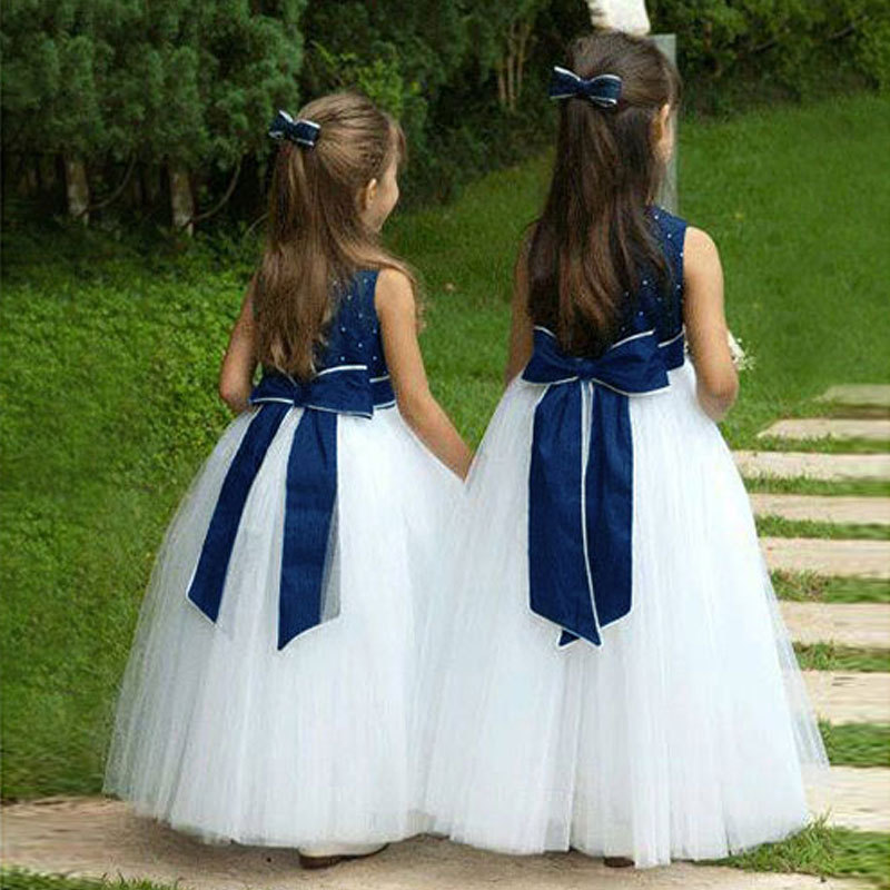 Wholesale Puffy Tulle Long Flower Girl Dresses For Weddings Ball Gown Bow Girl Party Communion Dress Pageant Vestido Menina Azul