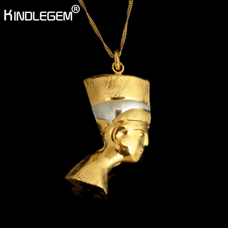 Kindlegem Pure Gold Silver Color Pharaoh Necklace Pendant Chian For Women Men Dubai Egyptian Jewelry Italy