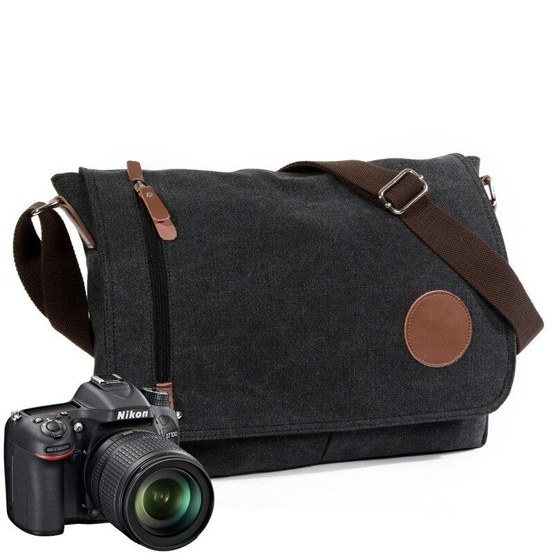 Messenger-Bags Crossbody-Bag Canvas Leather Traveling Vintage Women Big DSLR Slr-Camera