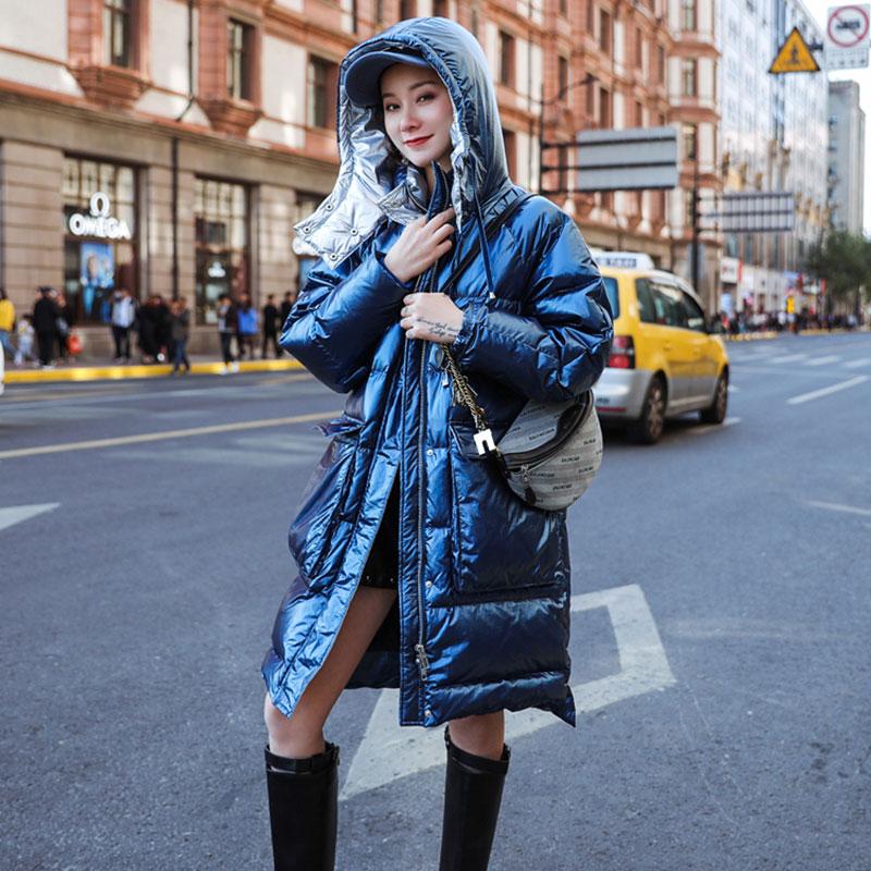 Abajo De Europeo Abrigo Bolsillo Las 6 Plus Blue Medio Pato Mujeres Suelto Cálido  Tamaño Chaqueta Invierno Grande Parka pink Blanco Largo ... ddf0205eb8b5