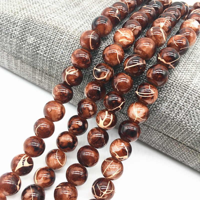 Wholesale 4/6/8mm Brown Salad Glass Beads Loose Spacer Painted Pearl Charm DIY Jewellery Making #08