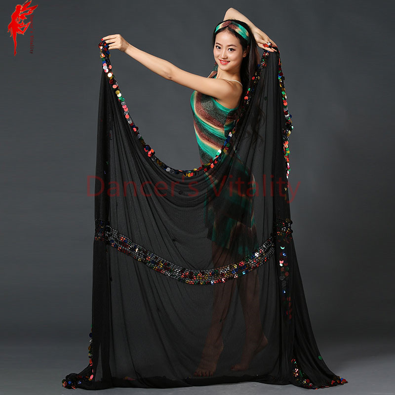 Belly Dance Props Belly Dance Accessories Chiffon Sequins Belly Dance Veil Women Belly Dance Show Veil 2.1*1.5m Dancer's Clothes