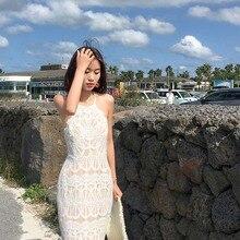Openwork Vacation Fishtail Dress Sleeveless Backless Lace Sexy Beach Vestidos De Verano White Maxi Bodycon  70j038