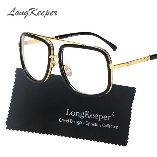 8a358113ed Monturas de gafas de ojo de Metal dorado para hombre marca plana gran montura  cuadrada negra
