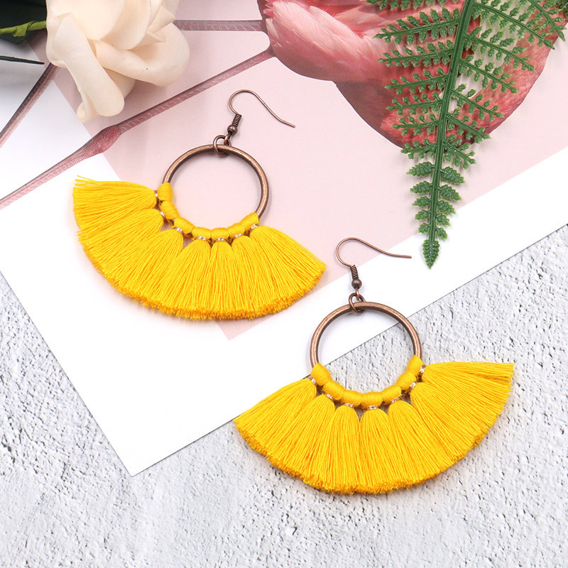Exknl Long Vintage Fringed Drop Tassel Earrings Women Bohemian Round Big Earrings Ethnic Party Dangle Earrings Fashion Jewelry 7