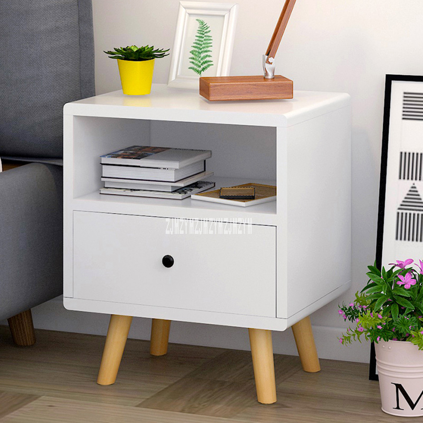A1281 Modern Fashion Night Table 1-Drawer 2-Tier Bedside Table Solid Wooden Leg Bedroom Side Table Nightstand Storage Cabinet