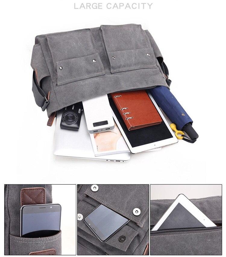 HTB1yYgvI9zqK1RjSZFLq6An2XXaS 2019 Brand Designer Men's Briefcase Canvas Crossbody Bags for men 14 Inch Laptop Shoulder Bags Buisness Office Men Messenger Bag