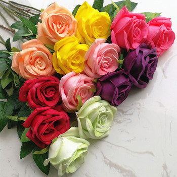 8p Real Touch Rose Fake Flower PU Roses Pink/red/blue/green/yellow 60cm for Wedding Party Artificial Decorative Flowers 7 Colors rose