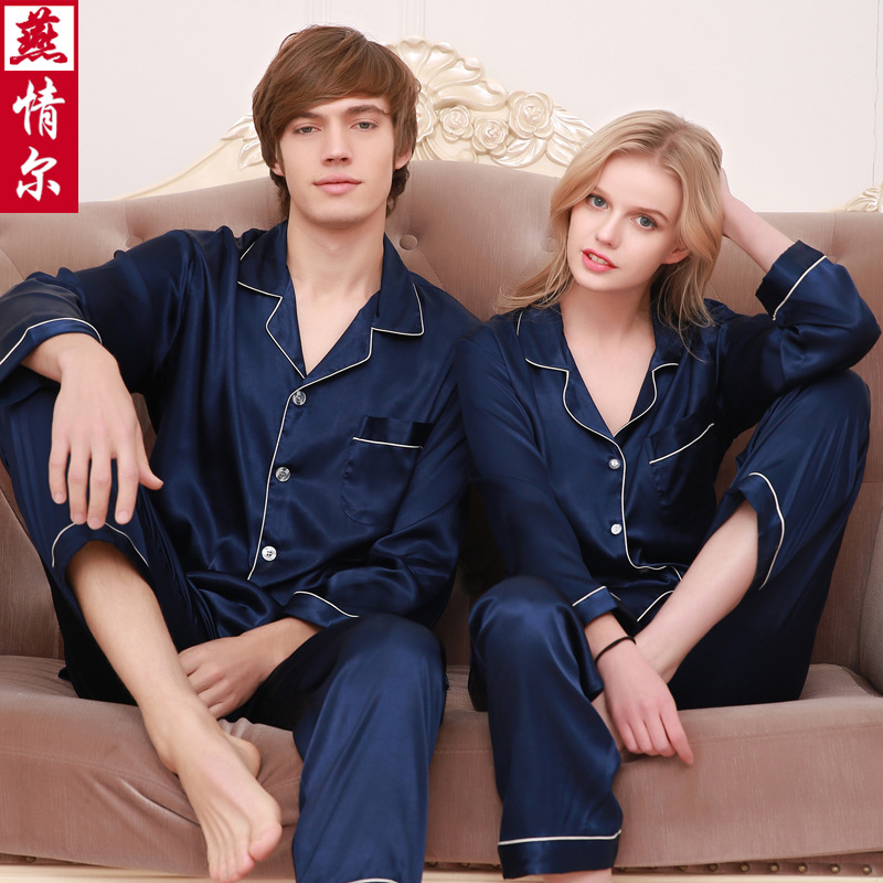 Couple Pajamas 2019 New Spring And Autumn Simulation Silk Couple Pajamas Ice Silk Long Sleeve Large Size Couple Pajamas Set