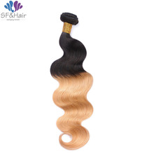 New! Ombre Honey Blonde Brazilian Hair Bundles 1 Piece Body Wave Virgin Hair Weave #1B/27 Dark Roots Ombre Blonde Human Hair