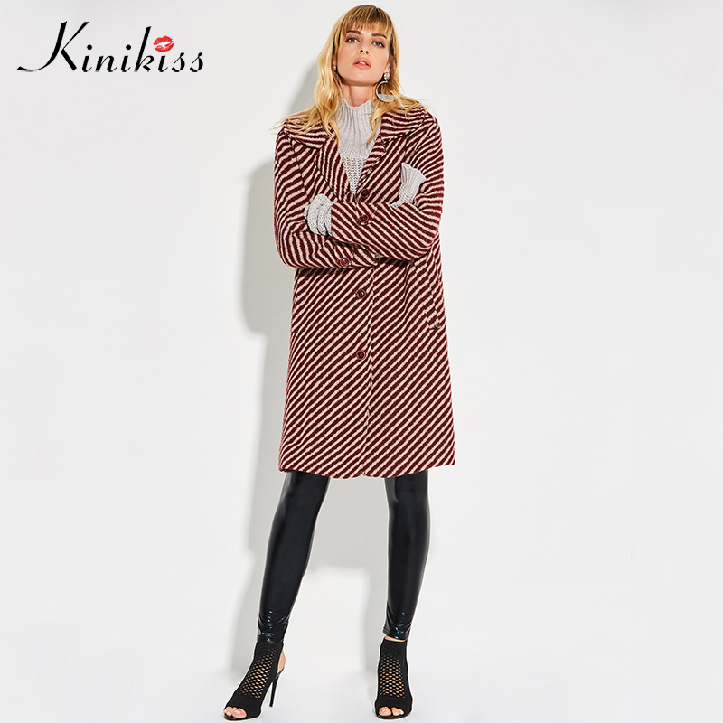 Kinikiss winter coat women 2018 red striped wide waisted loose button pockets wool overcoat warm autumn fashion long outwear