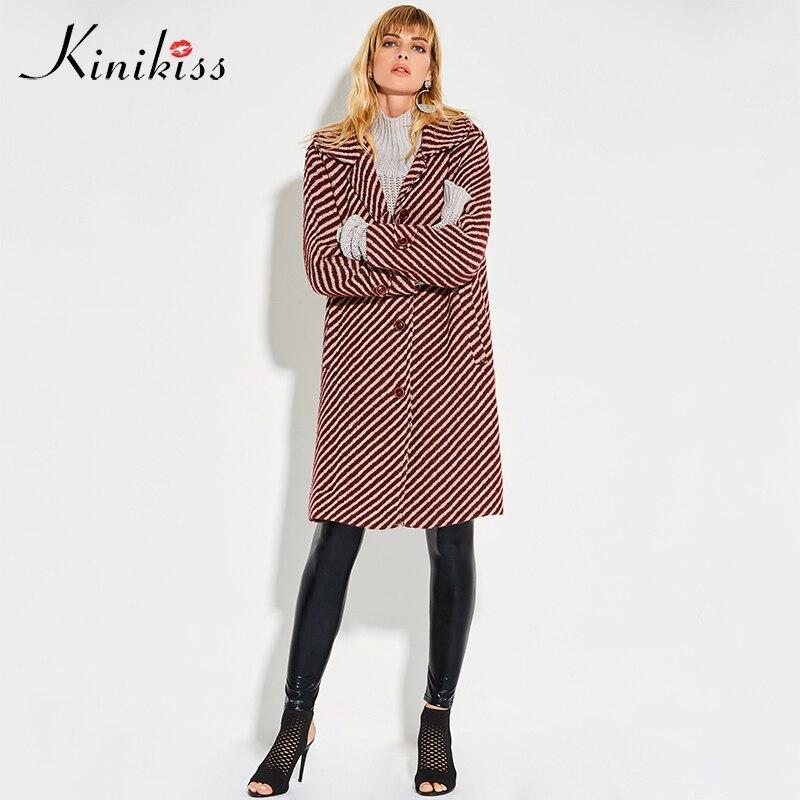 Kinikiss winter coat women 2018 red striped wide waisted loose button pockets wool overcoat warm autumn fashion long outwear