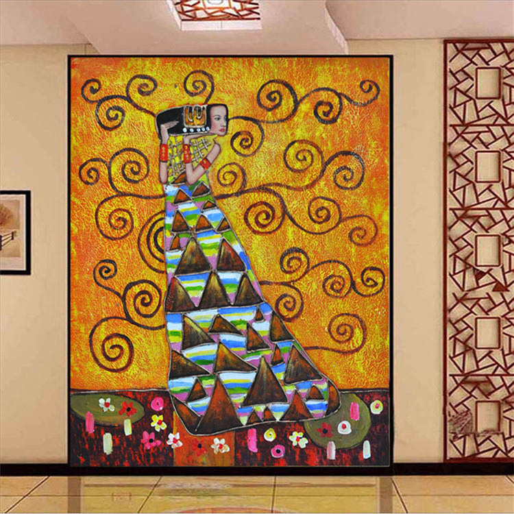 Buy 3d photo wallpaper klimt 39 s painting for Decorative mural painting