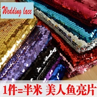 10 Colors available 9MM sequined fabric material wholesale 2017 Shiny sequins fabric for Wedding background decoration 1 Meter!