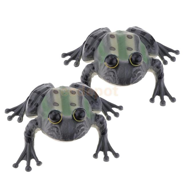 2Pieces Frog Statue Indoor Outdoor Garden Ornament Prop Model Figure Hunting