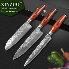XINZUO 3 pcs kitchen knife set Japanese VG10 Damascus kitchen knife set cleaver chef hammered striae forging free shipping