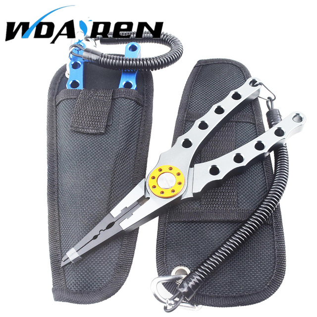 WDAIREN Multifunctional Fishing Plier Aluminum Alloy Fishing Pliers Retention Rope 17.5cm Hook Remover Line Cutter Grip Pincer