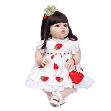 70CM large size silicone reborn baby dolls lovely princess girl dolls long brown hair children toys Mannequins