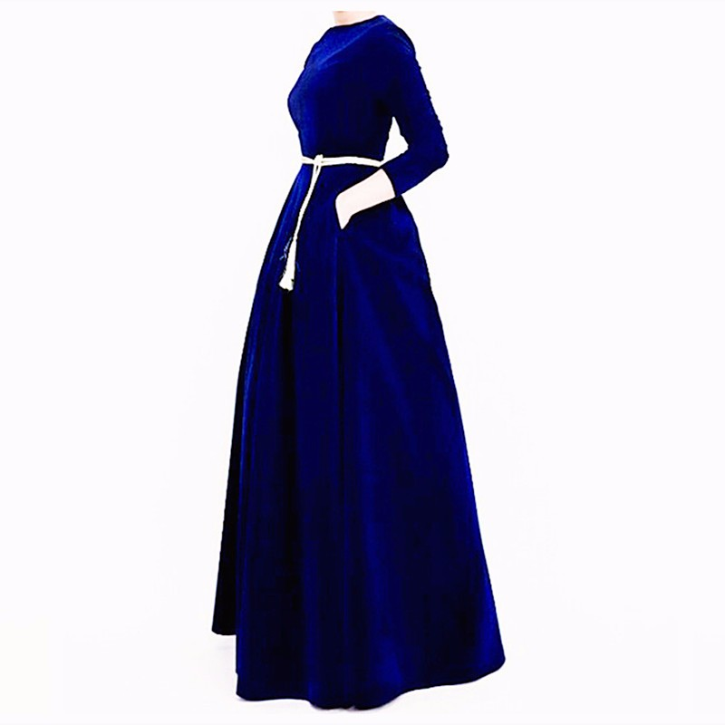 2017 Autumn Winter Fashion Women s HIGH QUALITY Solid Color Black Blue Red Maxi Long Velvet