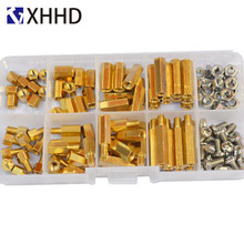 M4 Hex Brass Male Female Standoff Pillar Mount Threaded Hexagon PCB Motherboard Spacer Bolt Screw Nut Assortment kit Set Box m2 brass male female standoff pillar mount threaded pcb motherboard pc computer round spacer hollow bolt screw long nut
