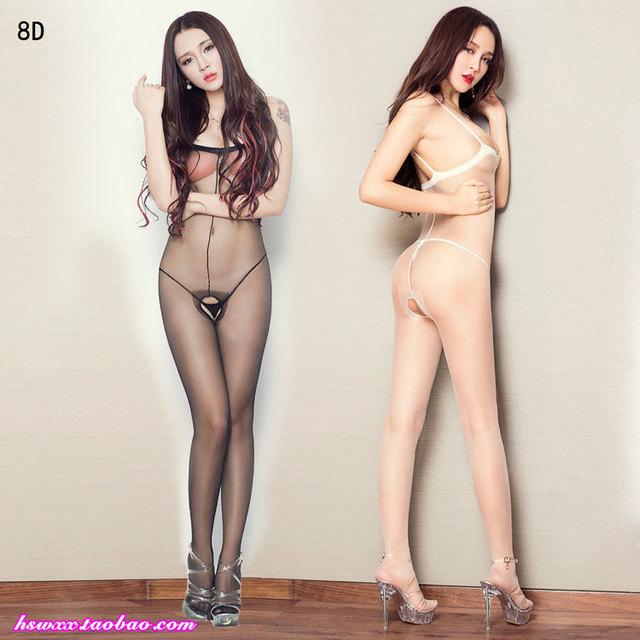 Frete grátis 8D meias toe finas femininas transparentes envio gratuito de linha de arame tubular meia-calça virilha pedaço virilha aberta macacões meias corpo st