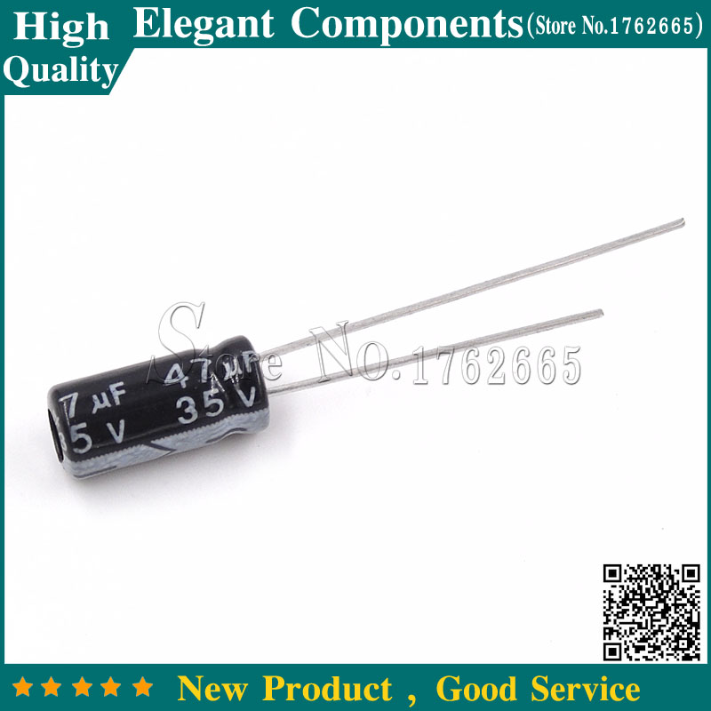 50PCS 47uF 35V 47MFD 35Volt Electrolytic Capacitor 5mm×11mm Radial