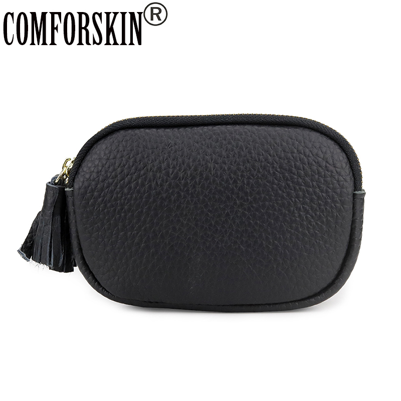 COMFORSKIN Brand Luxurious Genuine Leather Coin Purses High Quality Multi-function Double Compartment Women Wallets