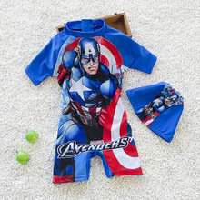 Boys One-Piece Sports Swimsuits Children Cartoon Superman Swimwear Kids Bathing Suits Boys Swimwear With Swimming Hats CH055