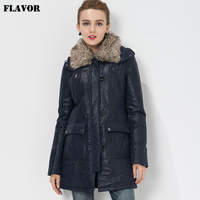 S 4XL Women's Pigskin real leather jacket Genuine Leather trench coat jacket overcoat women outwear with fur collar detachable