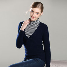 2017 New 100% Pure Cashmere TOP quality Knitted big V Neck Pullovers Long Sleeve Ladies thick sweaters Shirt for women lady's