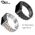 2017 stainless steel watch band for iwatch apple watch band strap link bracelet accessories 38mm 42mm black gold with adapter