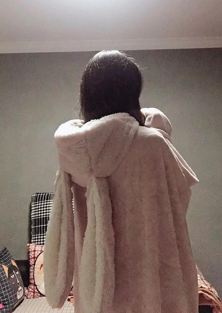Cute Pink Comfy Blanket Sweatshirt Winter Warm Adults and Children Rabbit Ear Hooded Fleece Blanket Sleepwear Huge Bed Blankets 87