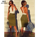 2015 caliente de la manera del traje de las mujeres sexy profundo escote en v backless del partido cuerpo estafa vendaje vestidos de verano casual halter vestido verao dress