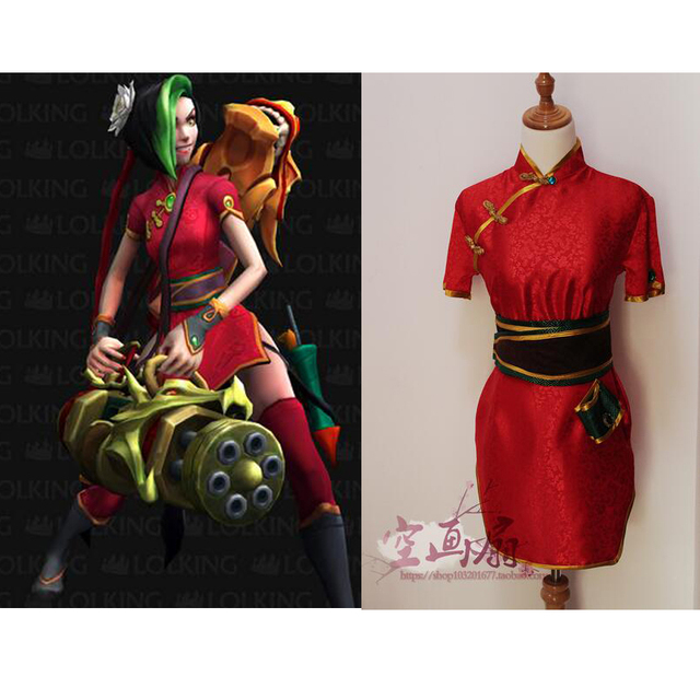 2016 LOL Firecracker Jinx Cosplay Costume Anime Red Custom Made-in ... 51c260a6c170