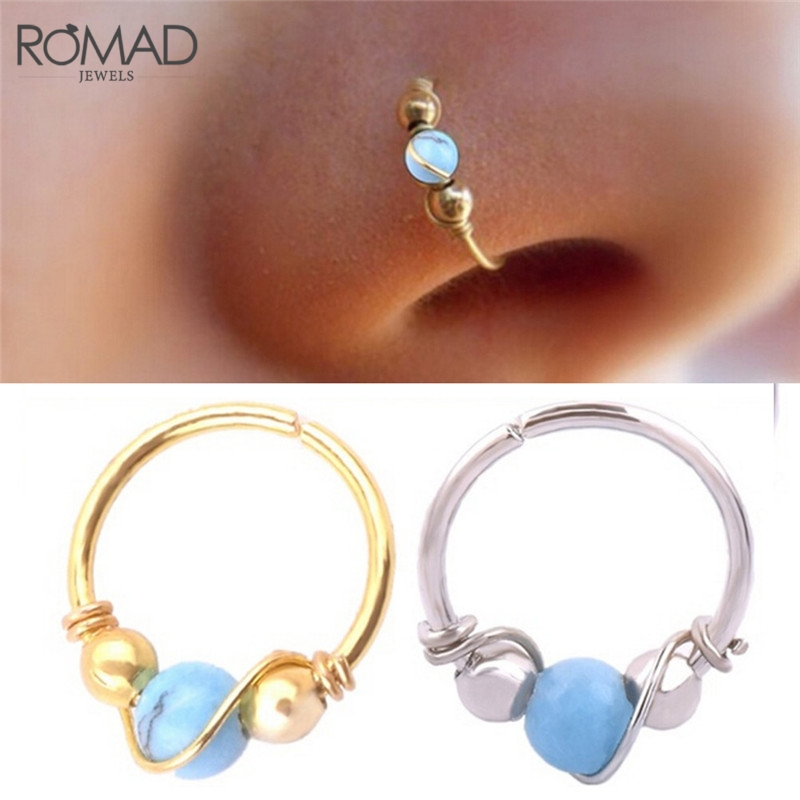Romad 1pcs Hot Sale Indian Blue Stone Nose Ring Nostril