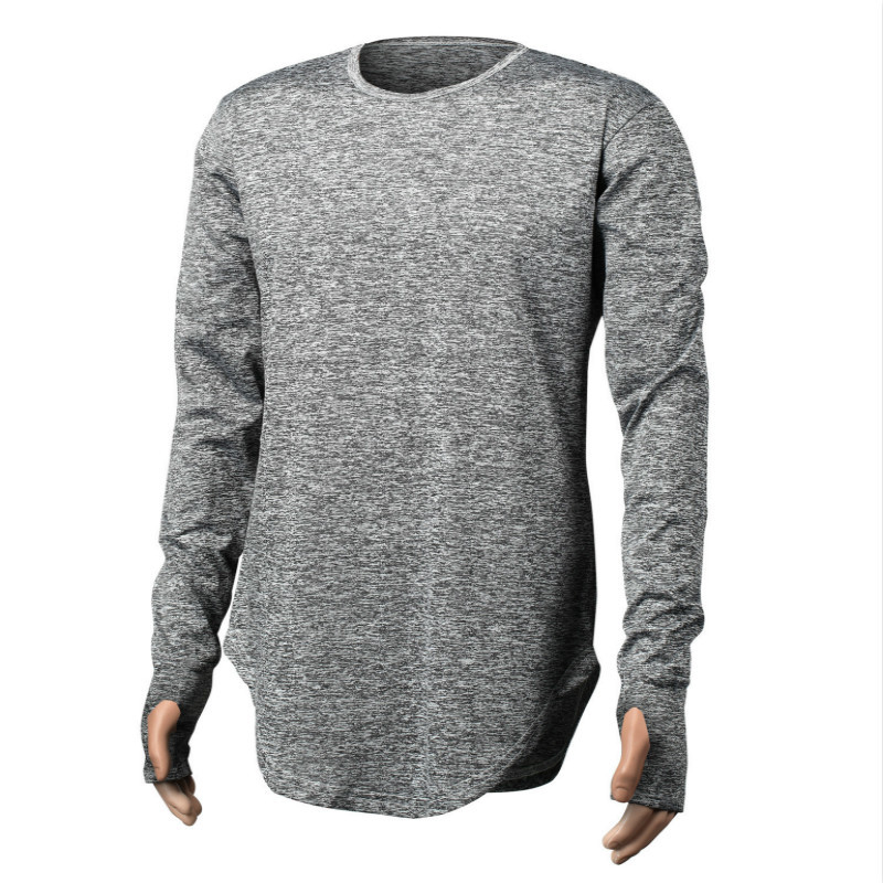 Long style Mens Tops T tee Shirt homme full Sleeve T-Shirt With Thumb Hole Cuffs T Shirt Wear Shirt Curved Hem swag T Shirt