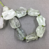 MY1091 High quality Natural Rough Raw Green Crystal Quartz Nugget , Point Drilled Quartz Beads,Free Shipping