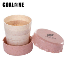 GOALONE 130ml Mini Collapsible Toothbrush Cup Portable Telescopic Wheat Straw Travel Holder BPA Free Tooth
