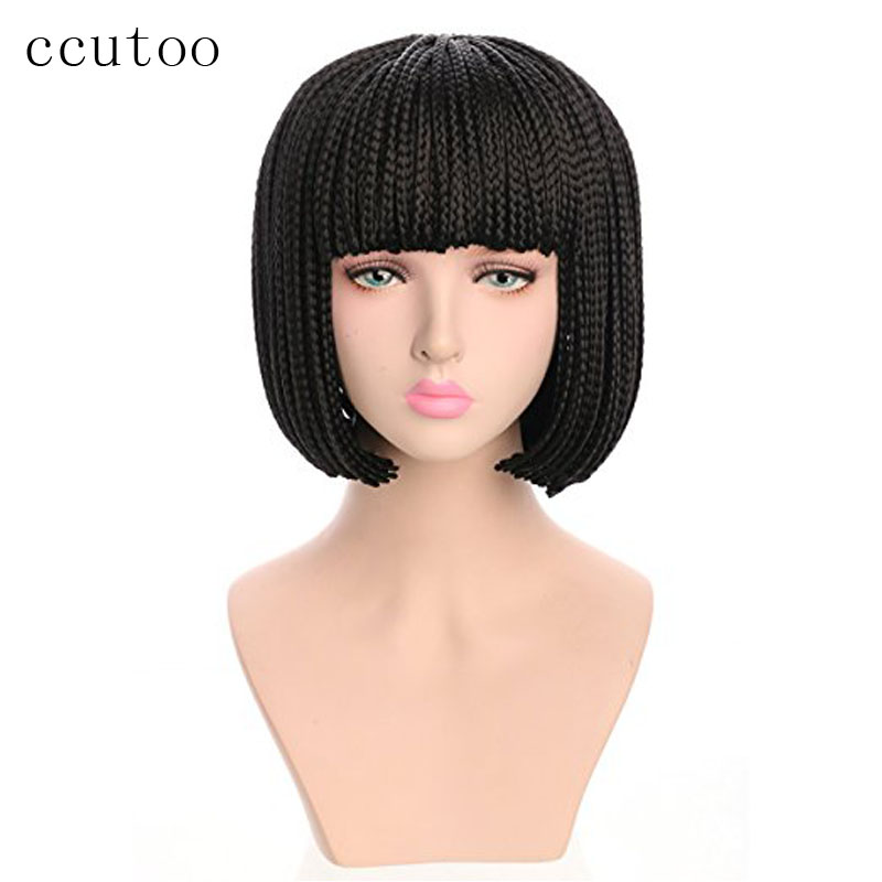 ccutoo 10 Black Short Afro American Black Flat Bangs Braids Synthetic Hair Cosplay Full Wigs Heat Resistance Fiber