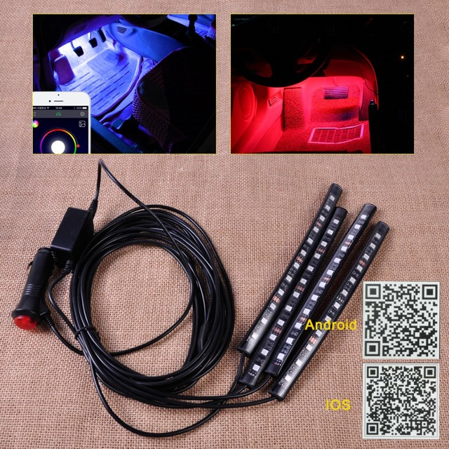 Car Interior 12 LED Strip Footwell Floor Neon Atmosphere Decoration Lamp Light Strip Music Control Phone fit Android IOS App