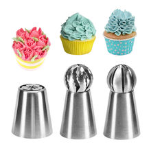 3PC/Set Stainless Steel Russian Tulip Icing Piping Nozzle Cake Decoration Cream Tips DIY Bakeware Tool Rose Flower