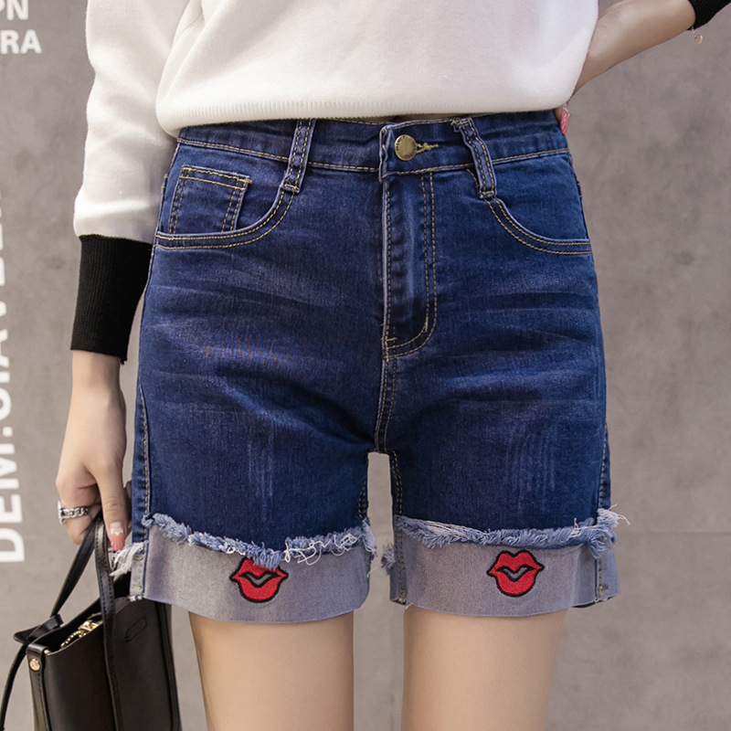 New Trendy Women Shorts Blue Crimping Denim Shorts High