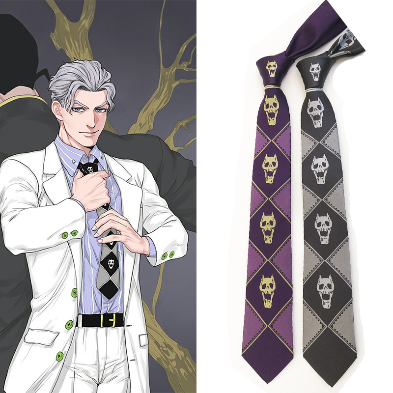 JoJo Bizarre Adventure KILLER QUEEN Kira Yoshikage Skull Neck Tie Cosplay Costumes