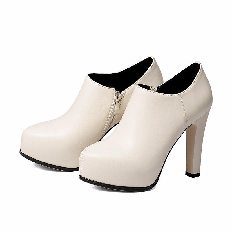 Plataforma Size34 Cuadrado Básicos 39 Beige Cuero Mujeres Botas Invierno Genuino De Cremallera Las Zapatos Enmayer Tacón Zyl1743 black Punta qxSvC6w