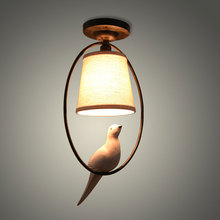 Mediterranean single bird ceiling lamp,retro American living room bedroom balcony aisle fabric ceiling light fixtures,bird lamps