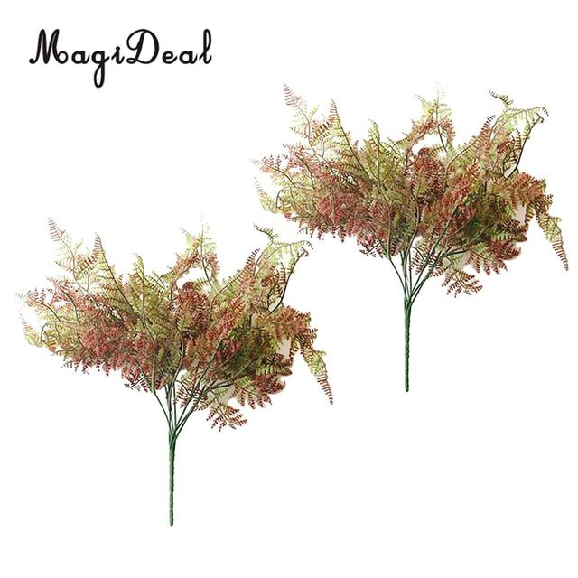 2 Pieces Artificial Plants Fake Plastic Greenery Shrubs Fern Bushes Flowers Filler Indoor Outside Home Garden